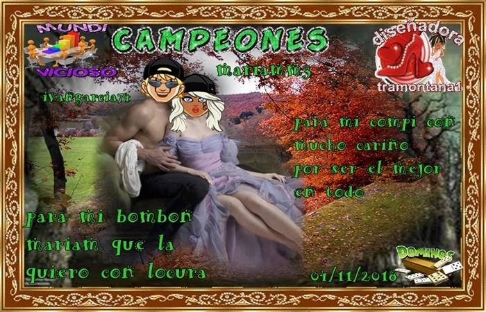 TORNEO DE DOMINO CAMPEONES IVANGARCIA74  Y MARIAMM3  SUBCAMPEONES YOCHONCHI  Y LUVINA64   FINALISTAS TAMARAGUAII Y WICHITA5   04/11/2018 Cuento10