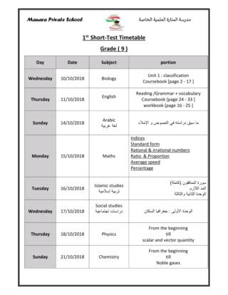 الاختبارات الشهرية بالمدرسة S_t1_t10