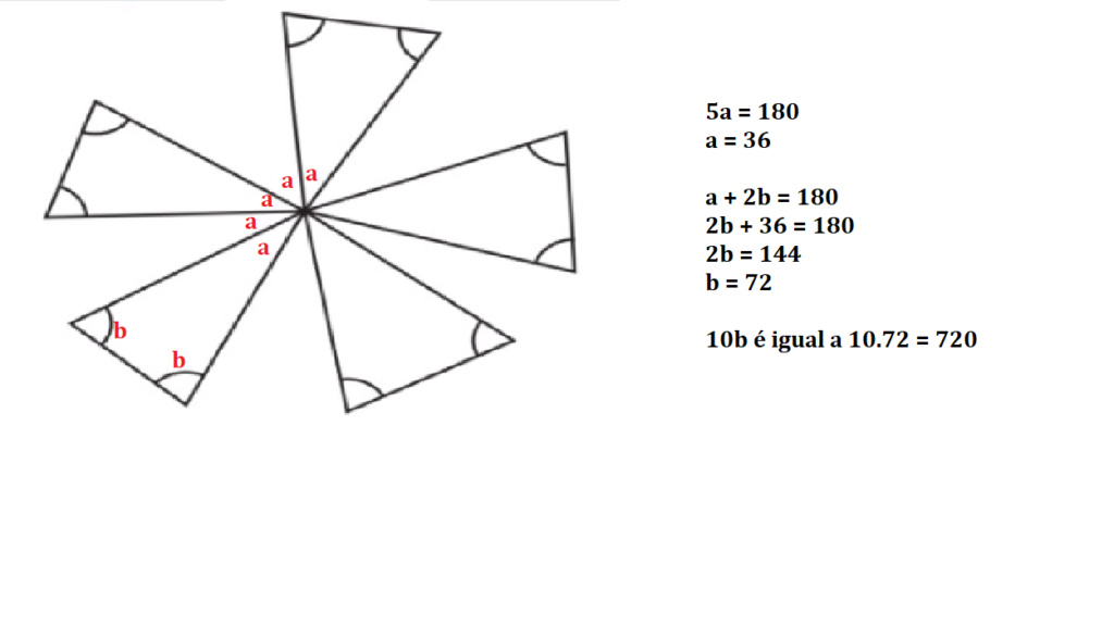Soma das medidas dos 10 ângulos indicados 117