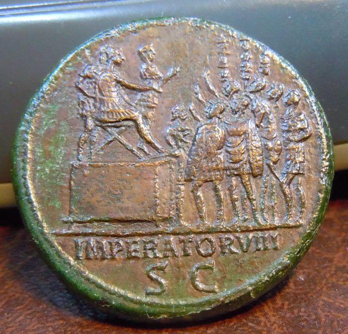 Sestercio de Trajano. IMPERATOR VIII, S C. Aclamación Imperial. Roma Sester18