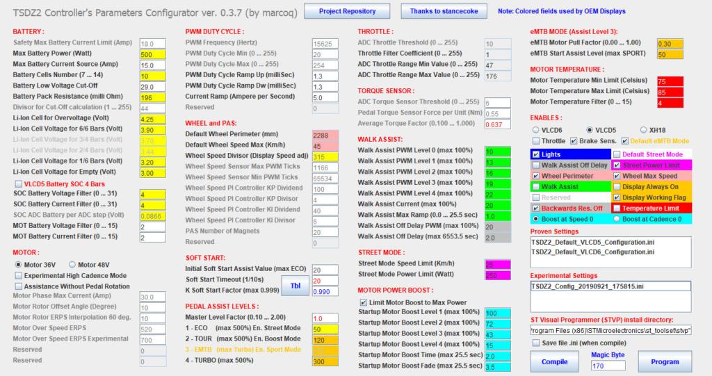 Ayuda programación motor Tongsheng TSDZ2 110