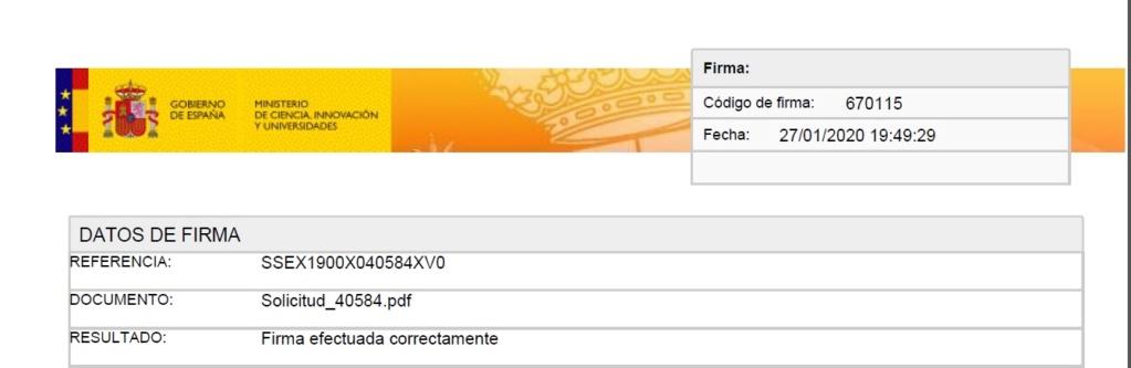 Firma y registro de la solicitud Justif10