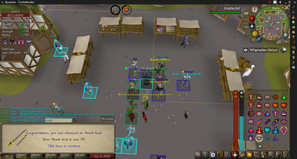 TurtleWurdle's Achievement Diary + 99 Attack Cape Event: 50M Drop Party, Hide & Seek, and Chambers Mass. (Sunday September 13, 2020, 17:00 UTC)  2020-010