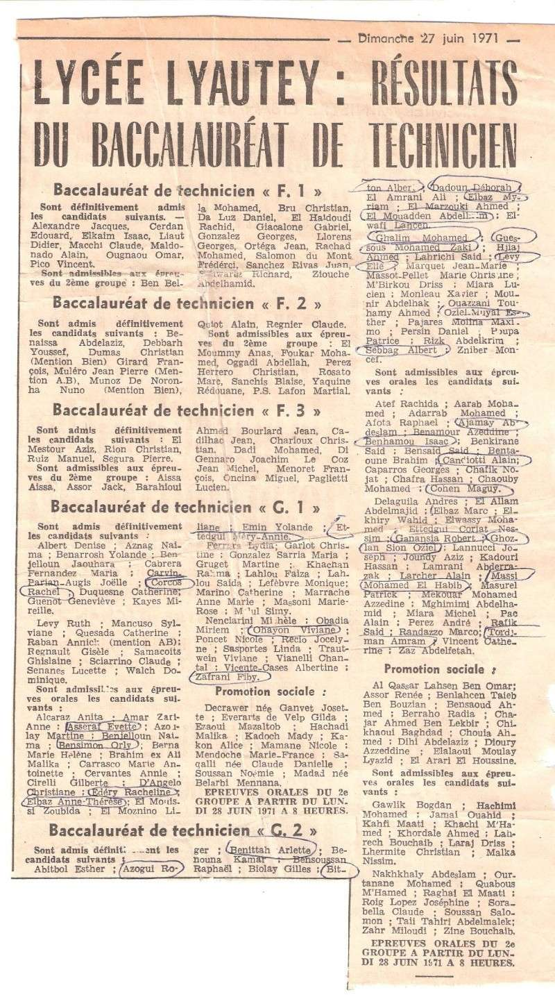 RESULTAT DU BAC ANNEE 1971 A CASABLANCA Z_29510
