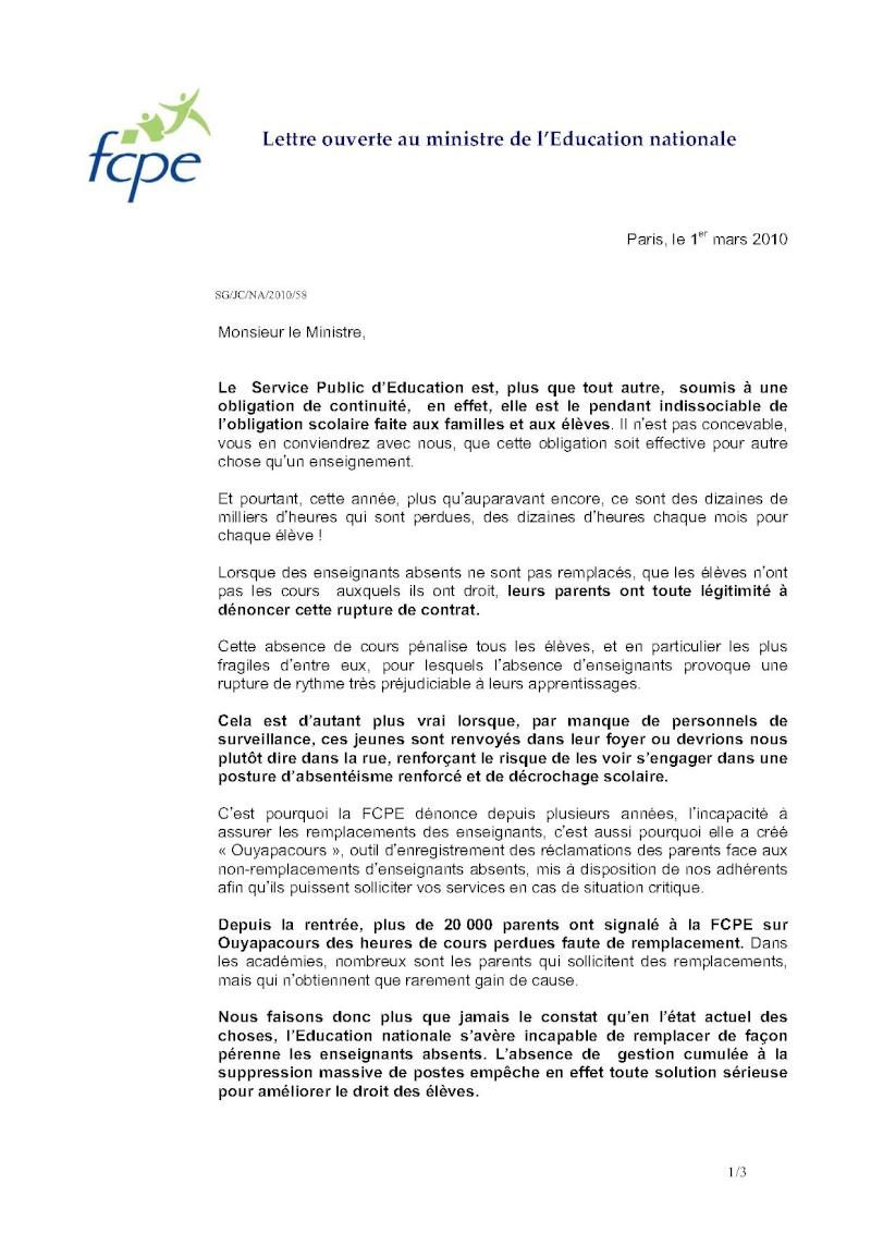 Remplacements dans l'Education nationale : Lettre ouverte de la FCPE au Ministre 58-let10