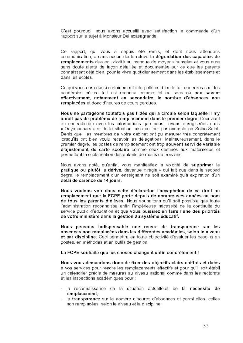 Remplacements dans l'Education nationale : Lettre ouverte de la FCPE au Ministre 58-let11