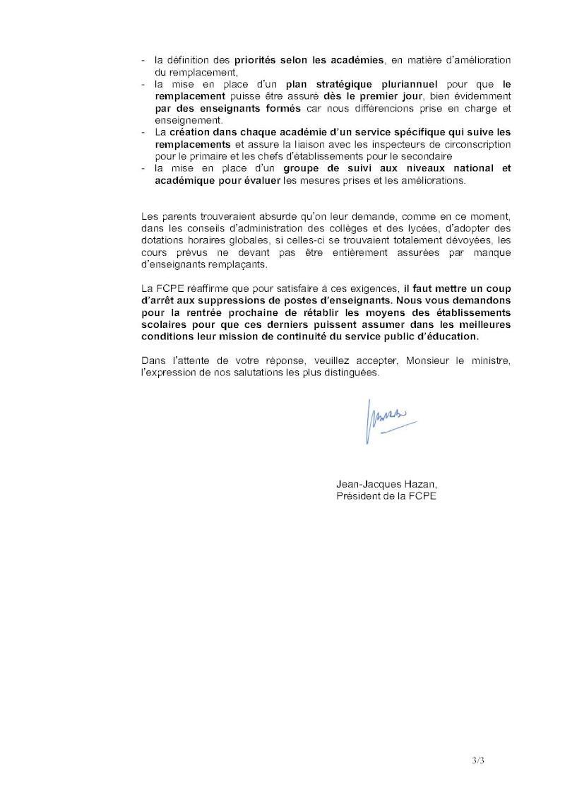 Remplacements dans l'Education nationale : Lettre ouverte de la FCPE au Ministre 58-let12