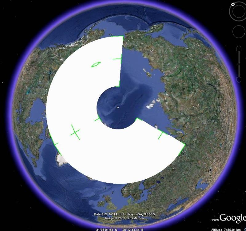 Essai - construction d'un overlay des zones polaires sur GE 310