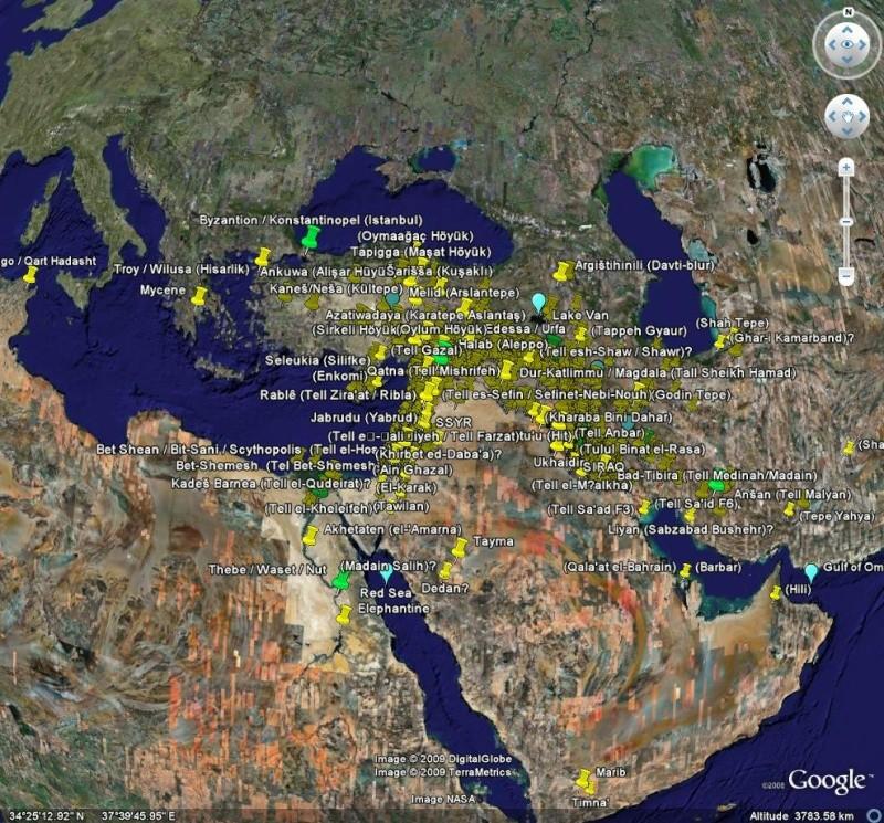 Fichier de 1300 lieux cités dans la Bible. Bible10
