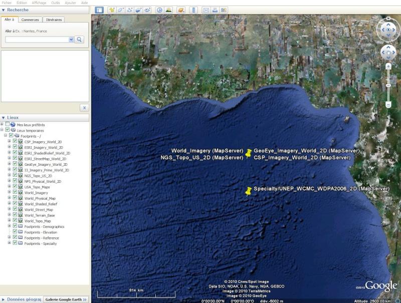 Cartes d'ArcGIS en overlay sur Google Earth Captu604