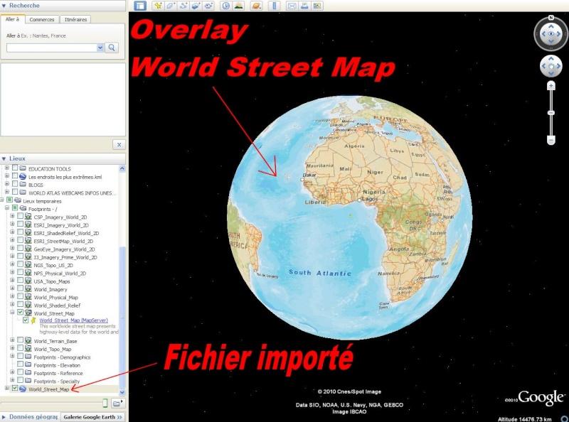 Cartes d'ArcGIS en overlay sur Google Earth Captu609