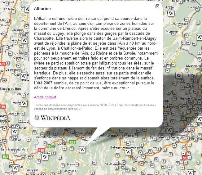 Carte dynamique vers les articles de Wikipédia. Captu670
