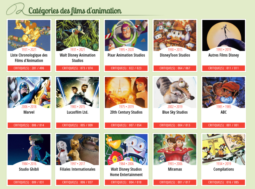 Listes et chroniques des films d'animation Disney Animat10