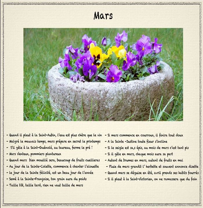 Les Mois et leurs Dictons Mars11
