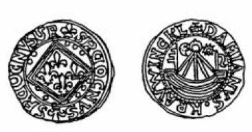 Jeton de Nuremberg imitation du jetonà la nef de Jean le bon Jeton110