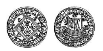 Jeton de Nuremberg imitation du jetonà la nef de Jean le bon Jeton210
