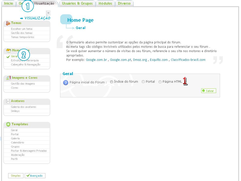 [FAQ] Configurar a página inicial do fórum Untitl27