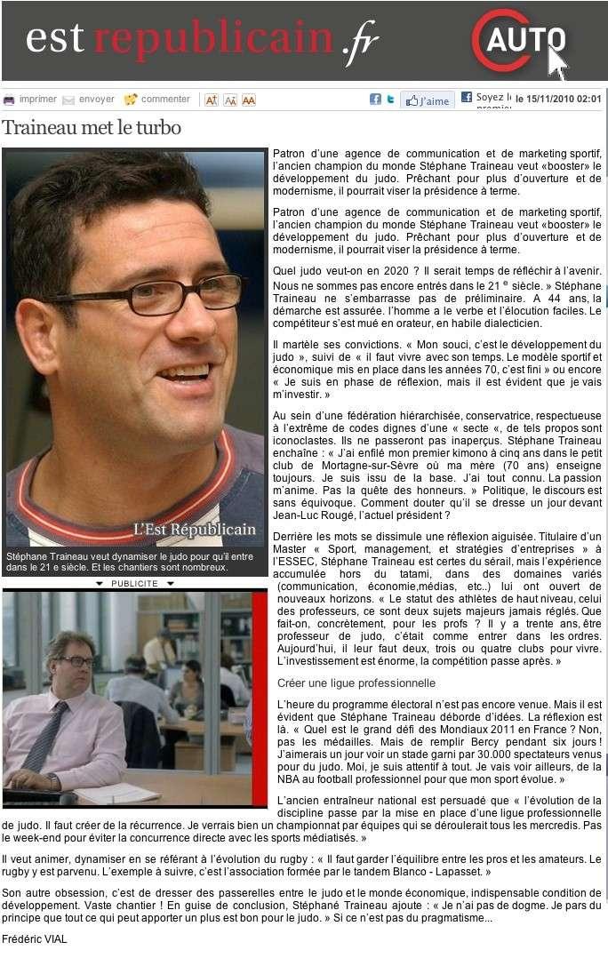 Traineau Stéphane, et si c'était le prochain patron de la FFJDA et du judo Français ? 10-11-10