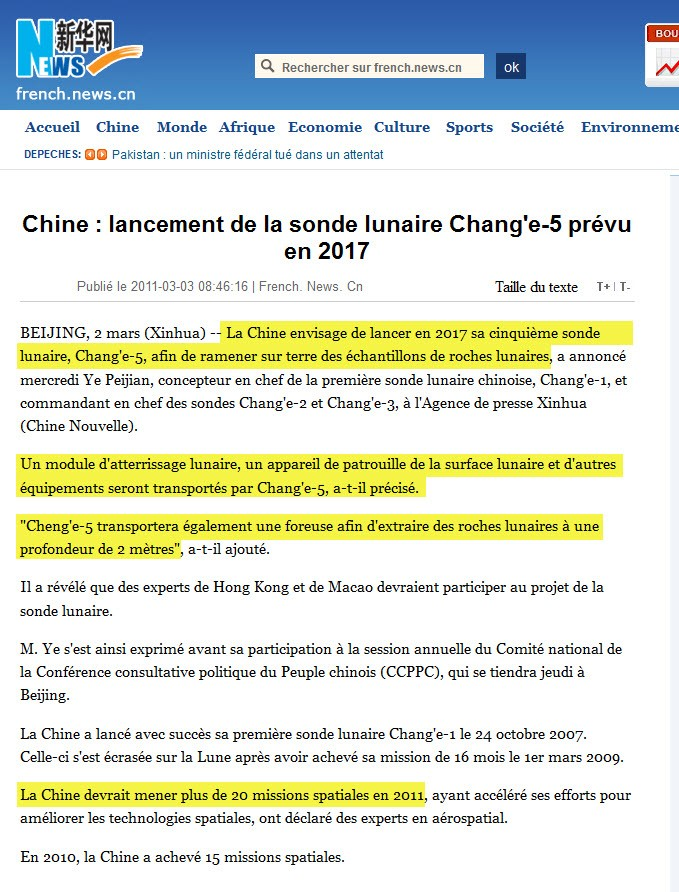 Mission Lunaire Chinoise - Phase II & III 03-03-10