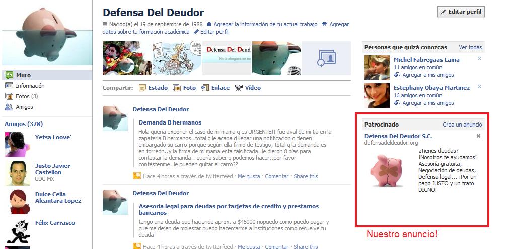 Facebook - ELDEUDOR.COM OTRO NUEVO DOMINIO PARA DDD, SC. Y ANUNCIOS EN FACEBOOK Anunci12
