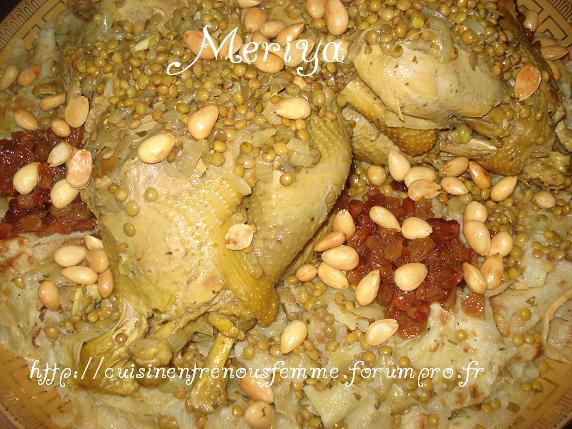 Rfissa / Tride au poulet fermier, raisins secs confits et amandes Dsc07413