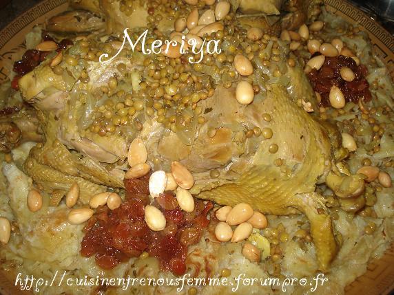 Rfissa / Tride au poulet fermier, raisins secs confits et amandes Dsc07414