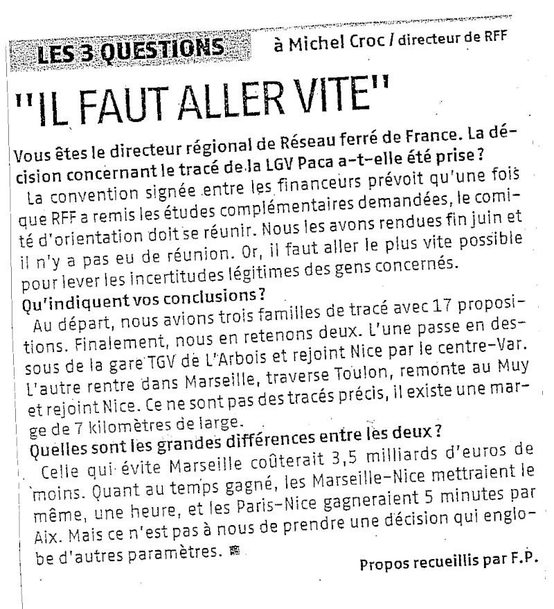 selon RFF : un gain de 5 mns sur le Paris Nice ! 31962011