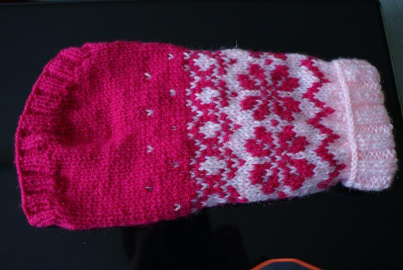 Manteau laine (tricoté main) rose foncé et clair. Mantea21