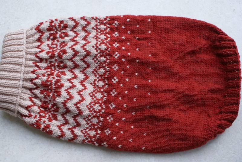 Manteau laine (tricoté main) rouille et beige. Mantea24