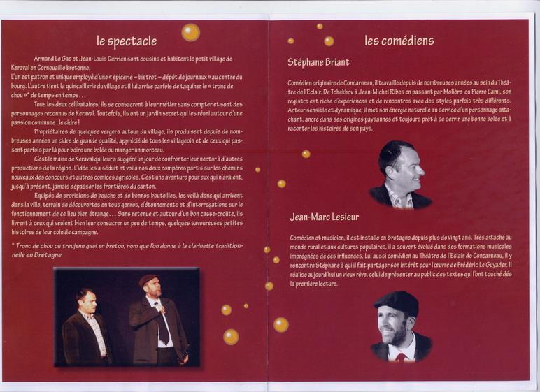 La chanson du cidre, prochain spectacle à Brasparts le 9 octobre prochain File0220