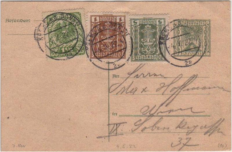 """Postkartenserie """"Quadratischer Wertstempel - Wertziffer im Dreieck"""" 1922-24 Gs192211"""