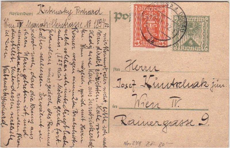 """Postkartenserie """"Quadratischer Wertstempel - Wertziffer im Dreieck"""" 1922-24 Gs192212"""