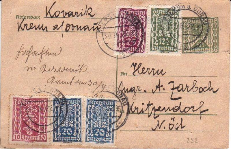 """Postkartenserie """"Quadratischer Wertstempel - Wertziffer im Dreieck"""" 1922-24 Gs192213"""