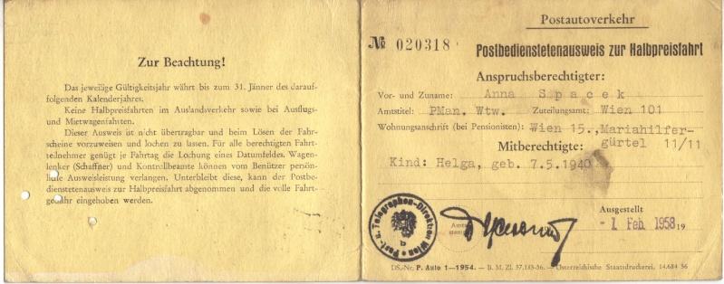 Postbedienstetenausweis zur Halbpreisfahrt - Ausweisgebühr Halbpr11