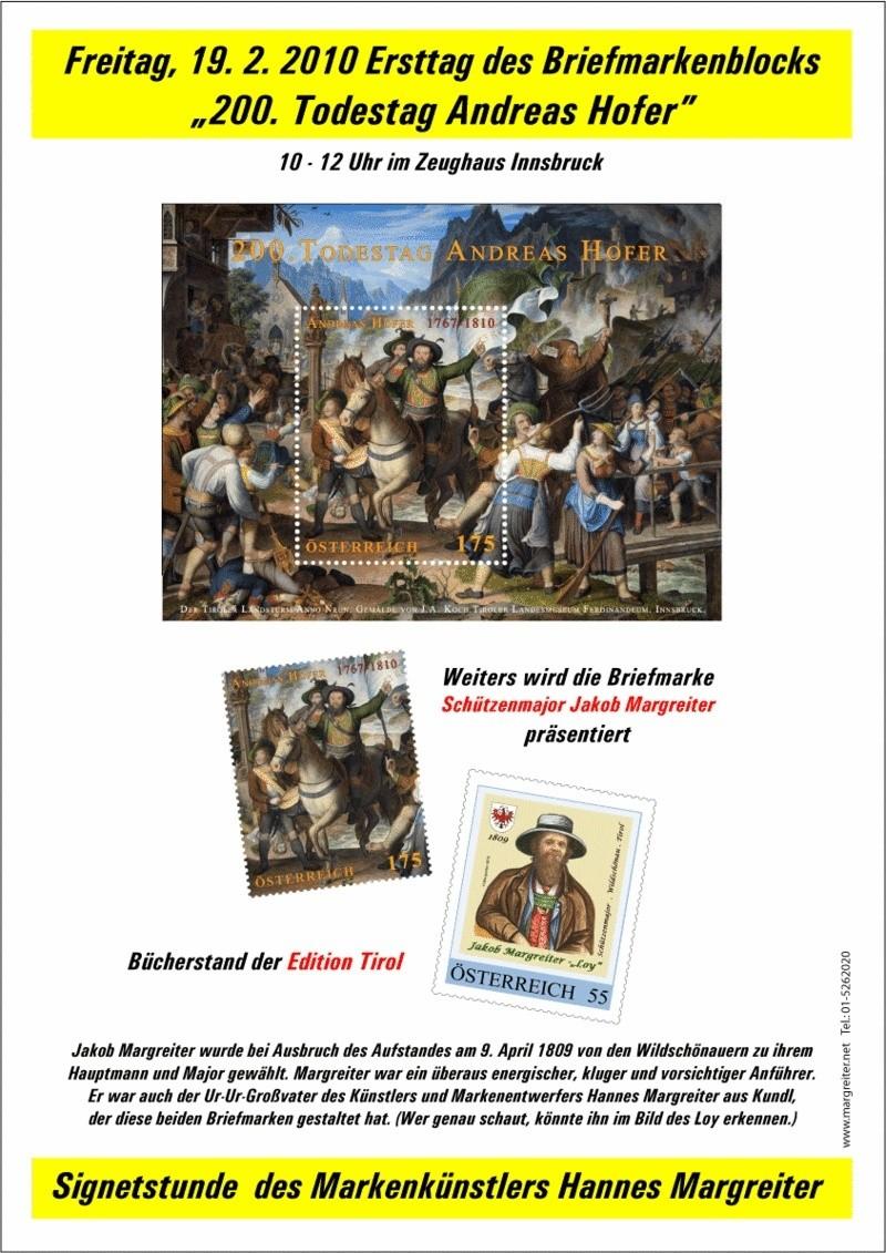 """Ersttag des Briefmarkenblocks  """"200. Todestag von Andreas Hofer"""" Hofer-10"""