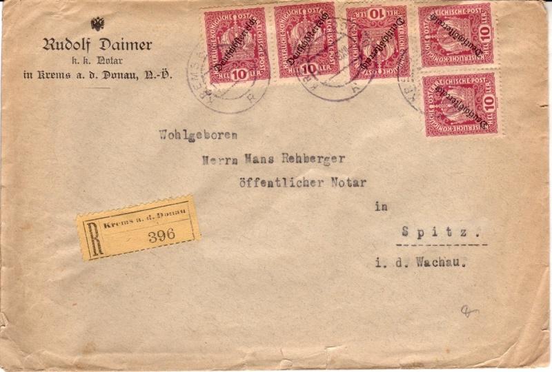 Republik Deutsch-Österreich  -  Bedarfspost Dez. 1918 - Dez. 1921 Mefdeu10