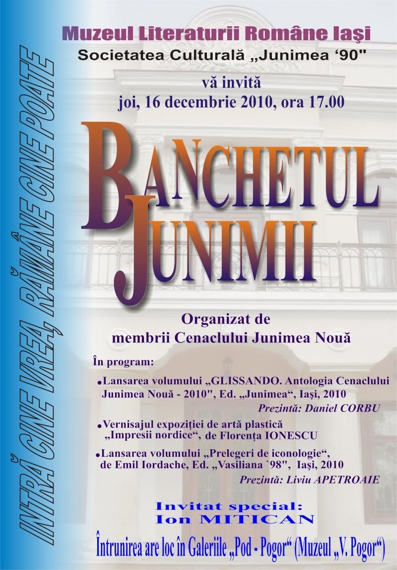"""CENACLUL """"JUNIMEA NOUĂ""""-ediţia a VI a şi Banchetul Junimii Afis_b10"""