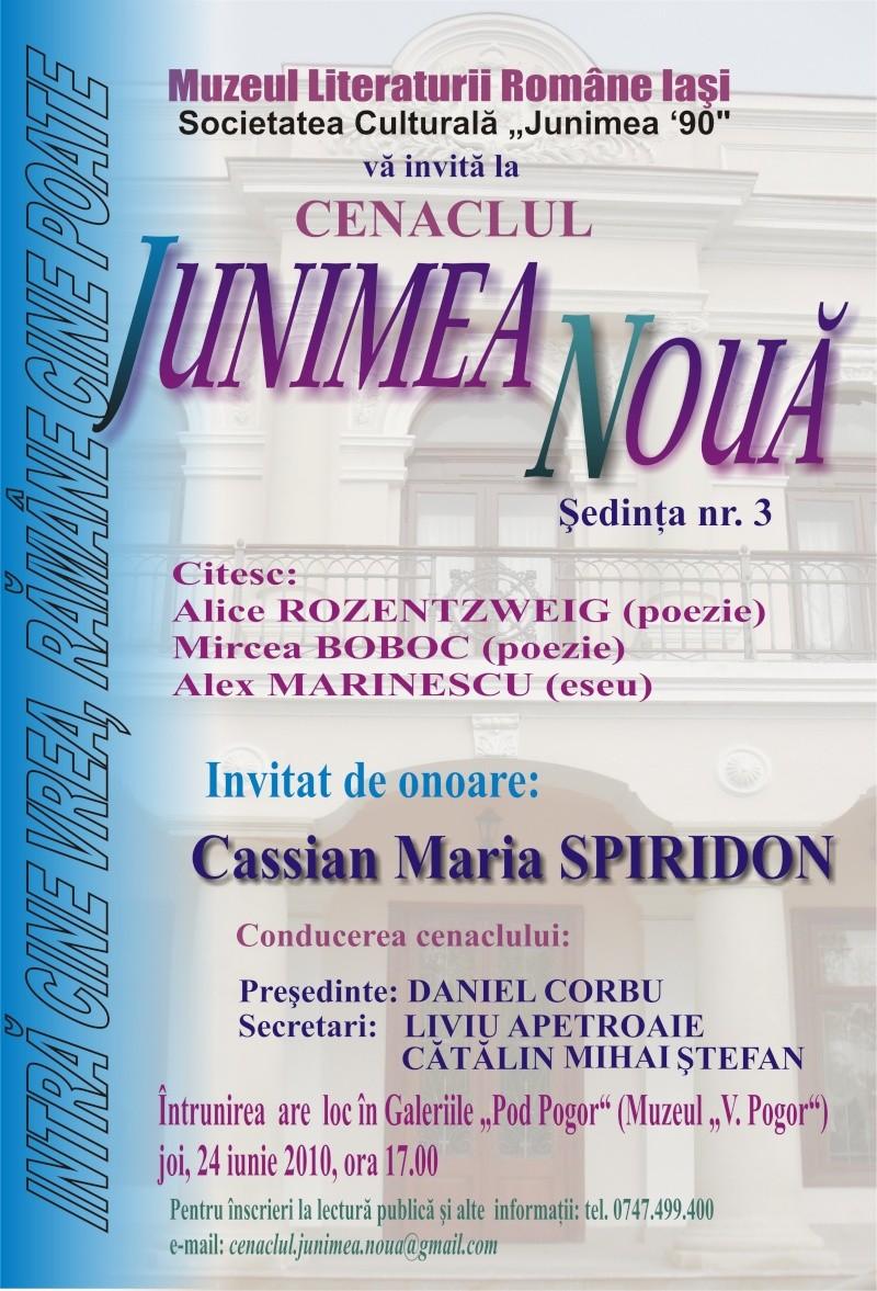 """CENACLUL """"JUNIMEA NOUĂ""""-ediţia a III a Afis_c11"""