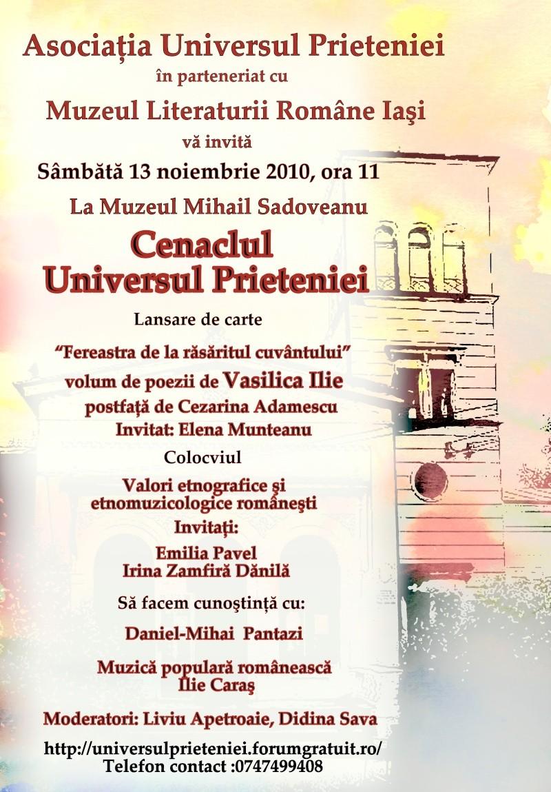 13 noiembrie 2010 -Sedinta a VII-a a Cenaclului U.P.-Lansare de carte-Vasilica Ilie-Fereastra de la Răsăritul Cuvântului Afis_c13