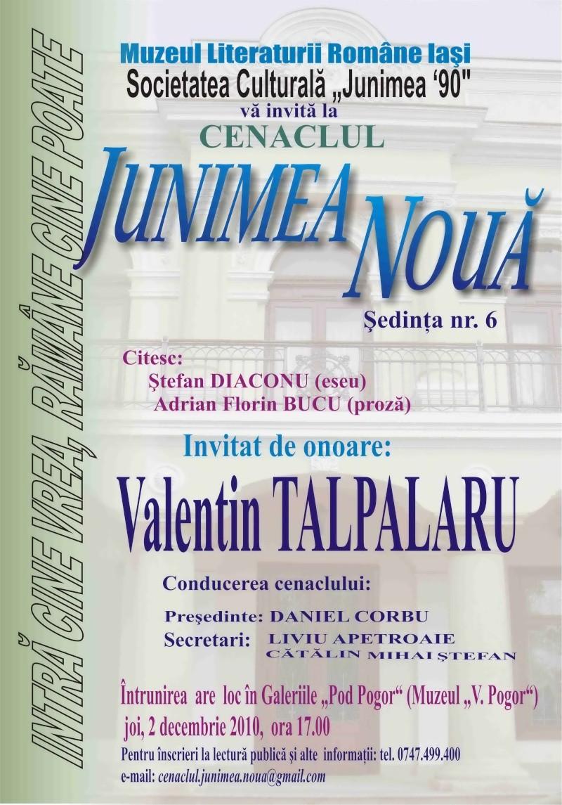 """CENACLUL """"JUNIMEA NOUĂ""""-ediţia a VI a şi Banchetul Junimii Afis_c14"""