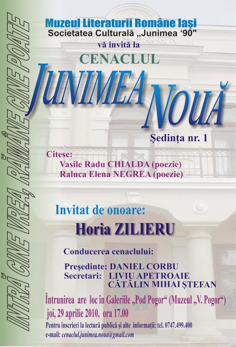 """CENACLUL """"JUNIMEA NOUĂ""""-ediţia I Afis_j10"""