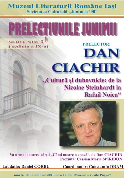 PRELECŢIUNILE JUNIMII-Dan Ciachir Afis_p10