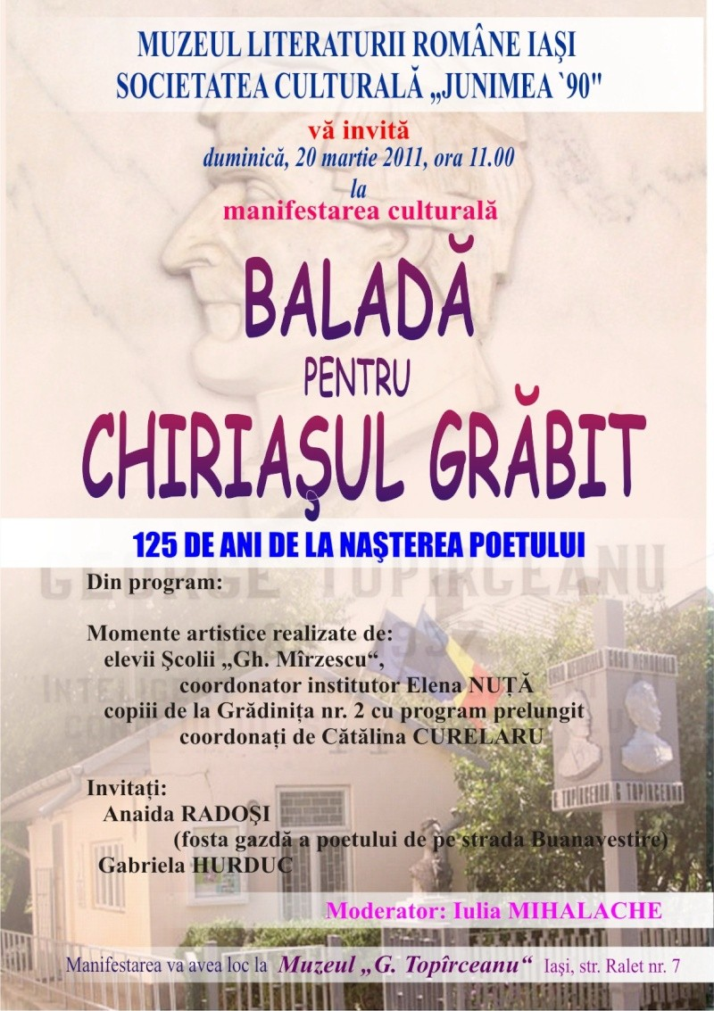 """Baladă pentru chiriaşul grăbit""""–125 de ani de la naşterea poetului Afisto10"""
