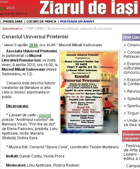9 APRILIE 2010-Sedinta a-II-a a Cenaclului U.P-Lansare de carte-Mărioara Vişan si Elena Păduraru Clip_317