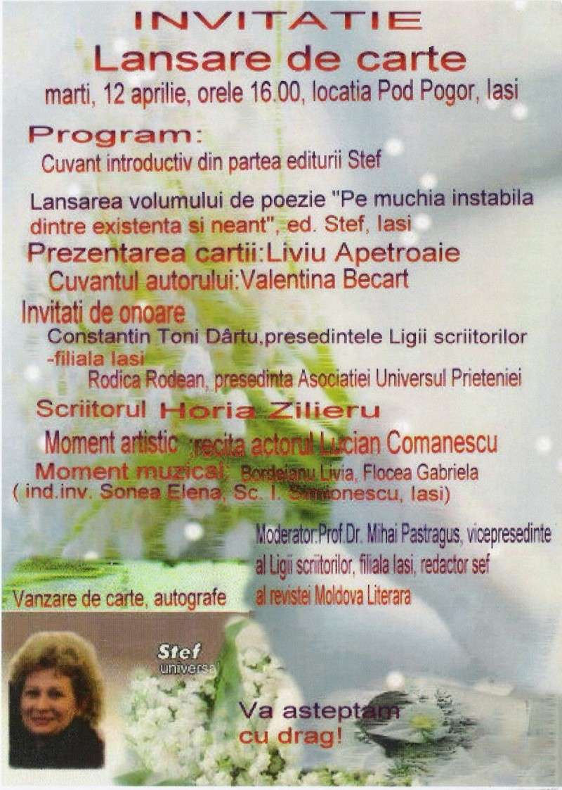 """Lansare de carte-""""Pe muchia instabila dintre existenţă şi neant"""" -Valentina Becart Scan0039"""