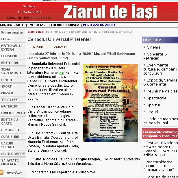 Ecouri in presa despre  actiunile organizate de Asociatia Universul Prieteniei Ziarul10