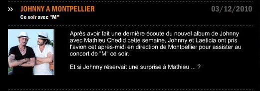 Johnny à l'Arena de Montpellier ce soir! 03-12-12