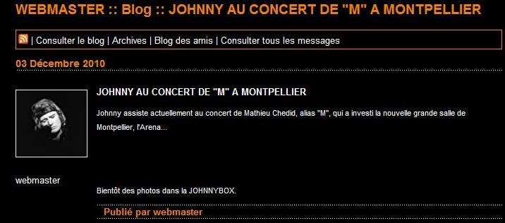 Johnny à l'Arena de Montpellier ce soir! 03-12-13