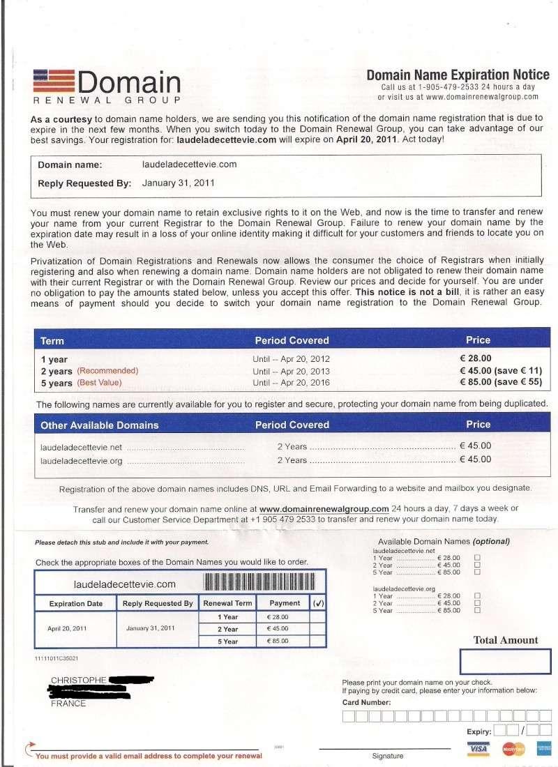 Domain Renewal Group me contact pour renouveller mon nom de domaine! que faire? Lettre11
