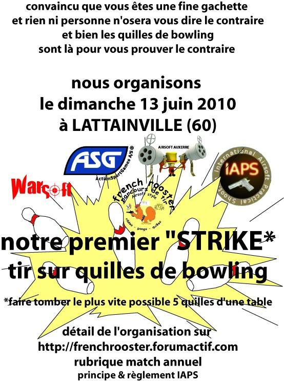 match de tir sur quilles de bowling le 13 juin Affich16